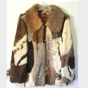 cbdba6e5b08 Genuine VTG Rabbit Fur Coat Calico Patchwork